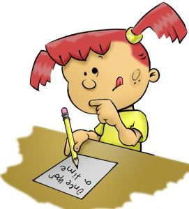 cartoon_picture_of_girl_writing-content